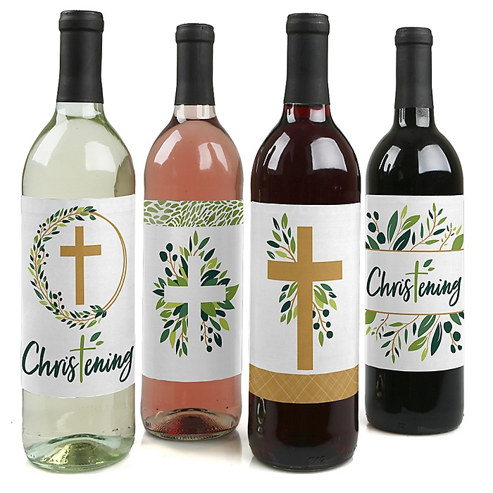 Christening Elegant Cross - Religious Party Decorations for Women and Men - Wine Bottle Label Stickers - Set of 4