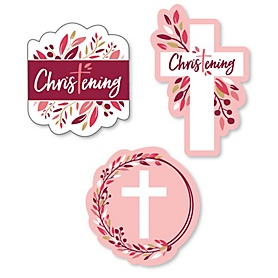 Christening Pink Elegant Cross - DIY Shaped Girl Religious Party Cut-Outs - 24 ct