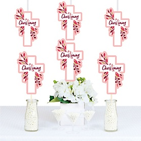 Christening Pink Elegant Cross - Decorations DIY Girl Religious Party Essentials - Set of 20
