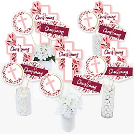 Christening Pink Elegant Cross - Girl Religious Party Centerpiece Sticks - Table Toppers - Set of 15