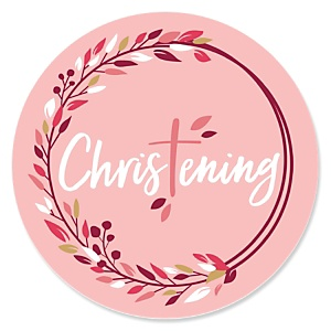 Christening Pink Elegant Cross - Religious Party Theme