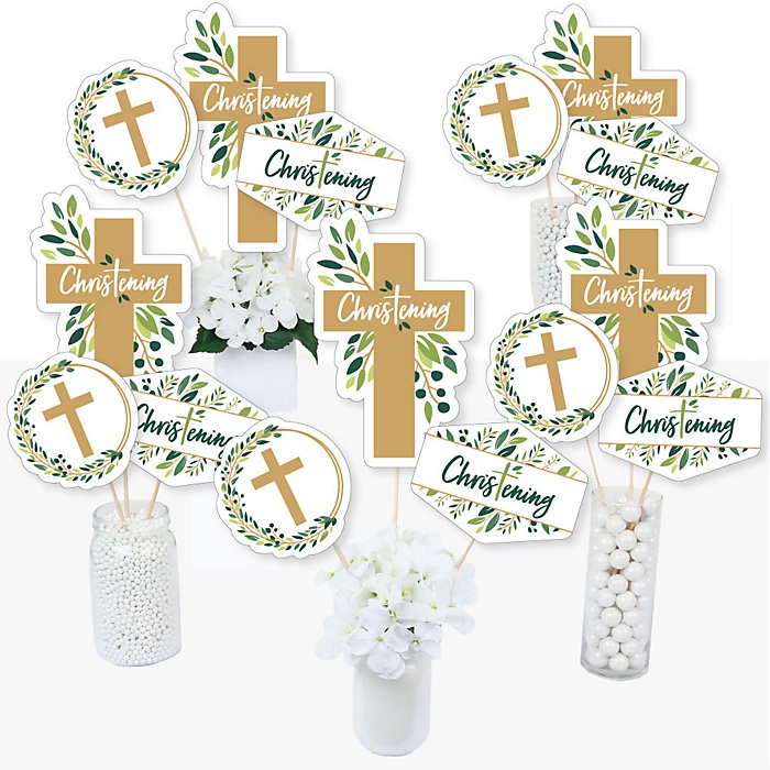 Christening Elegant Cross - Religious Party Centerpiece Sticks - Table Toppers - Set of 15