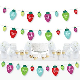 Christmas Light Bulbs - Holiday Party DIY Decorations - Clothespin Garland Banner - 44 Pieces