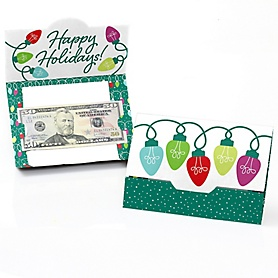 Christmas Light Bulbs - Holiday Party Money And Gift Card Holders - Set of 8