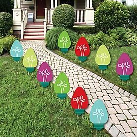 Christmas Light Bulbs - Lawn Decorations - Outdoor Holiday Party Yard Decorations - 10 Piece