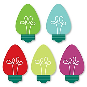 Christmas Light Bulbs - DIY Shaped Holiday Party Cut-Outs - 24 ct