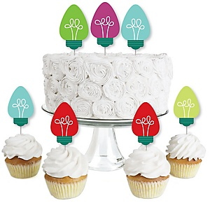 Christmas Light Bulbs - Dessert Cupcake Toppers - Holiday Party Clear Treat Picks - Set of 24