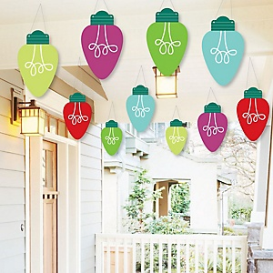 Hanging Christmas Light Bulbs - Outdoor Holiday Party Hanging Porch and Tree Yard Decorations - 10 Pieces