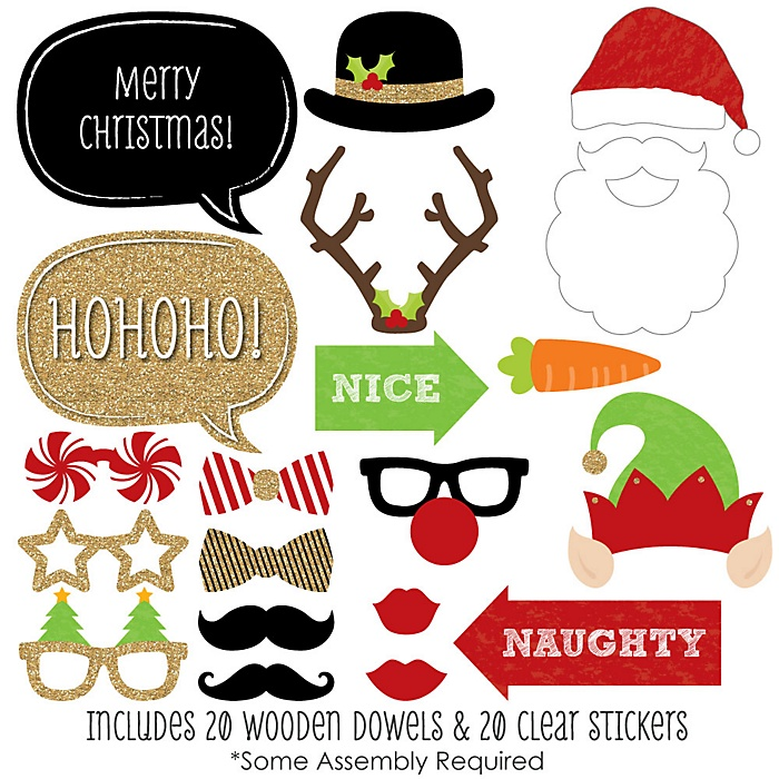 Christmas - Holiday Party 20 Piece Photo Booth Props Kit