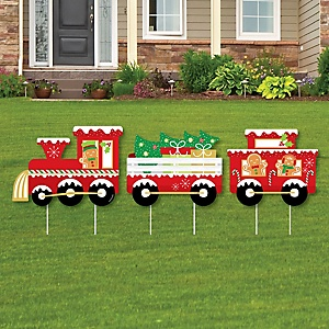 Christmas Train - Outdoor Lawn Sign Decorations with Stakes - Holiday Party Yard Display - 3 Pieces