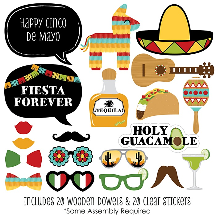 Cinco de Mayo - 20 Piece Mexican Themed Photo Booth Props Kit
