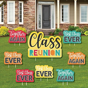 Class Reunion - Yard Sign and Outdoor Lawn Decorations - Class Reunion Yard Signs - Set of 8