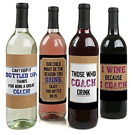 Coach Appreciation Gift - Decorations for Women and Men - Wine Bottle Label Stickers Coach Christmas Gift - Last Day of School Gifts for Coaches - Set of 4