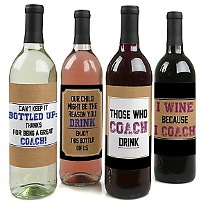 Coach Appreciation Gift - Decorations for Women and Men - Wine Bottle Label Stickers Coach Gift - First Day of School Gifts for Coaches - Set of 4