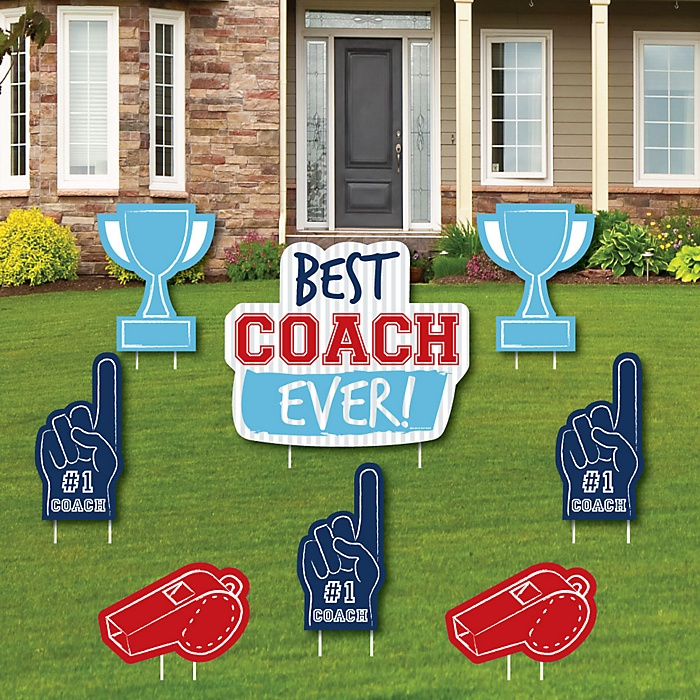 Best Coach Ever - Yard Sign and Outdoor Lawn Decorations - Coach Appreciation Yard Signs - Set of 8
