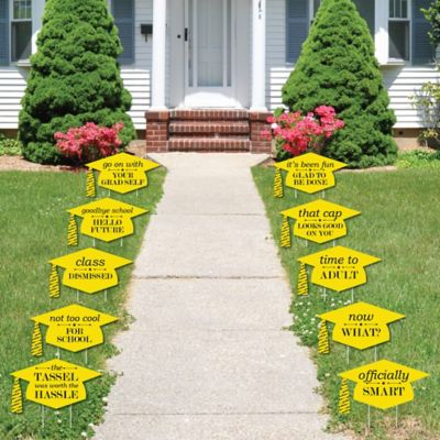 Yellow Grad Caps   Shaped Outdoor Graduation Lawn Decorations   Graduation  Party Yard Signs   10 Piece