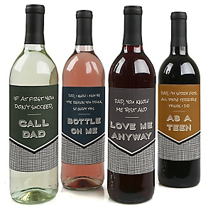 Dad, I Must Confess - Decorations for Women and Men - Wine Bottle Labels Gifts for Dad - Set of 4