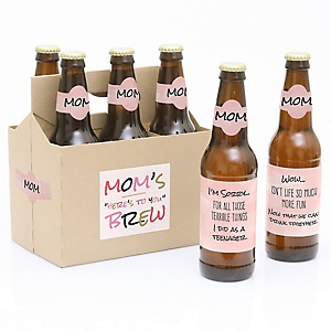 Mom, I Must Confess - Decorations for Women and Men - 6 Beer Bottle Label and 1 Carrier Gifts for Mom