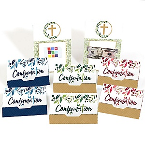 Confirmation Elegant Cross - Assorted Religious Party Money And Gift Card Holders - Set of 8