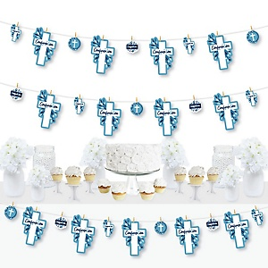 Confirmation Blue Elegant Cross - Boy Religious Party DIY Decorations - Clothespin Garland Banner - 44 Pieces
