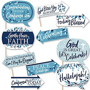 Funny Confirmation Blue Elegant Cross - Boy Religous Party 10 Piece Photo Booth Props Kit
