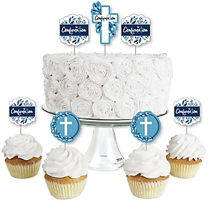 Confirmation Blue Elegant Cross - Dessert Cupcake Toppers - Boy Religous Party Clear Treat Picks - Set of 24