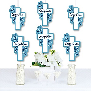 Confirmation Blue Elegant Cross - Decorations DIY Boy Religous Party Essentials - Set of 20
