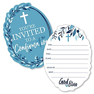 Confirmation Blue Elegant Cross - Shaped Fill-In Invitations - Boy Religous Party Invitation Cards with Envelopes - Set of 12