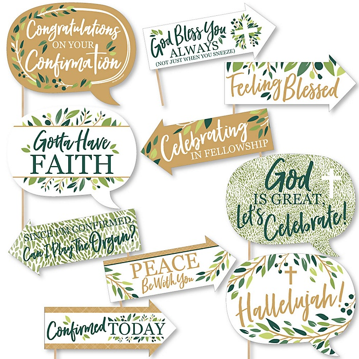 Funny Confirmation Elegant Cross - Religious Party 10 Piece Photo Booth Props Kit