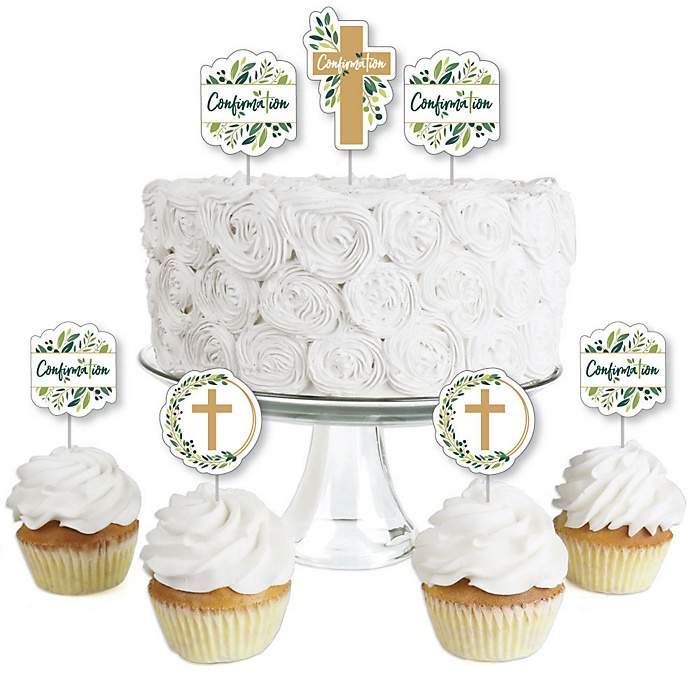 Confirmation Elegant Cross - Dessert Cupcake Toppers - Religious Party Clear Treat Picks - Set of 24