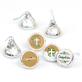 Confirmation Elegant Cross - Religious Party Round Candy Sticker Favors - Labels Fit Hershey's Kisses - 108 ct