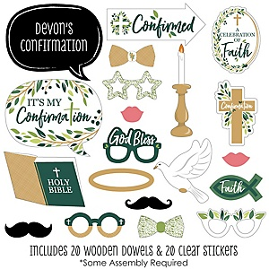 Confirmation Elegant Cross - 20 Piece Religious Party Photo Booth Props Kit