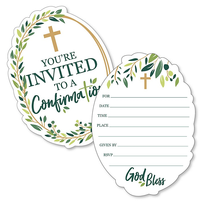 Confirmation Elegant Cross - Shaped Fill-In Invitations - Religious Party Invitation Cards with Envelopes - Set of 12