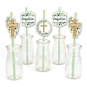 Confirmation Elegant Cross - Paper Straw Decor - Religious Party Striped Decorative Straws - Set of 24