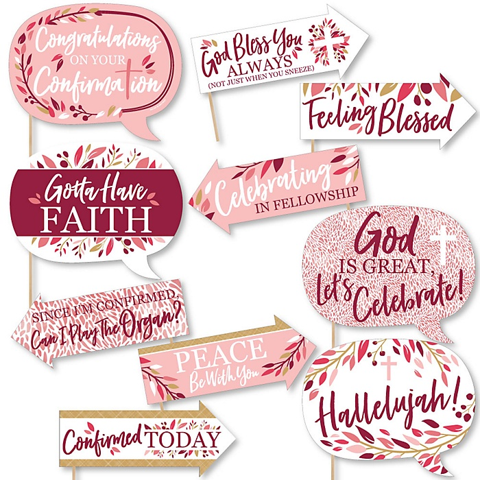 Funny Confirmation Pink Elegant Cross - Girl Religous Party 10 Piece Photo Booth Props Kit