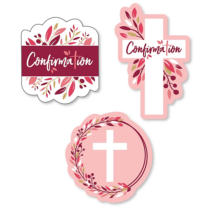 Confirmation Pink Elegant Cross - DIY Shaped Girl Religous Party Cut-Outs - 24 ct
