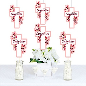 Confirmation Pink Elegant Cross - Decorations DIY Girl Religous Party Essentials - Set of 20