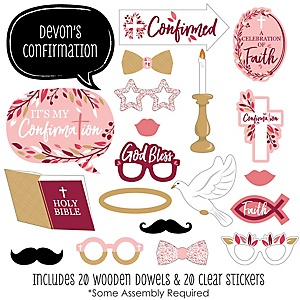 Confirmation Pink Elegant Cross - 20 Piece Girl Religous Party Photo Booth Props Kit