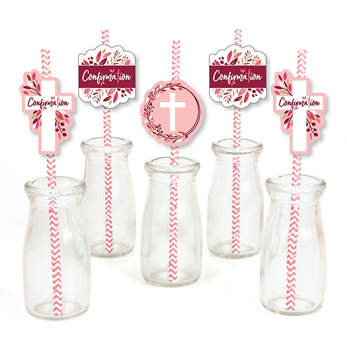 Confirmation Pink Elegant Cross - Paper Straw Decor - Girl Religous Party Striped Decorative Straws - Set of 24