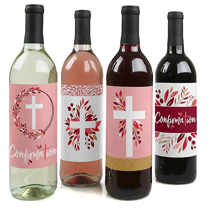 Confirmation Pink Elegant Cross - Girl Religous Party Decorations for Women and Men - Wine Bottle Label Stickers - Set of 4