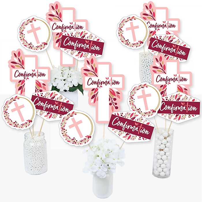 Confirmation Pink Elegant Cross - Girl Religous Party Centerpiece Sticks - Table Toppers - Set of 15