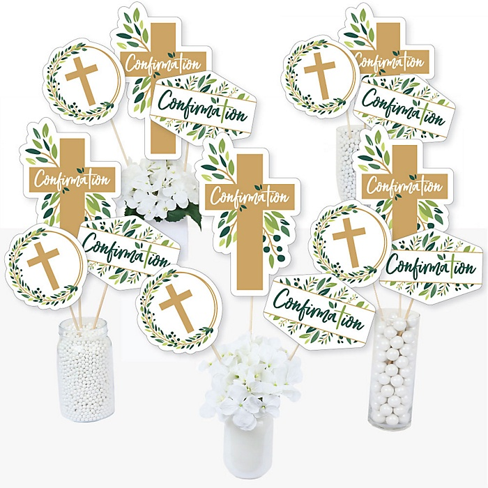 Confirmation Elegant Cross - Religious Party Centerpiece Sticks - Table Toppers - Set of 15