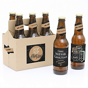 Best Day Ever - Decorations for Women and Men - 6 Congratulations Beer Bottle Labels and 1 Carrier