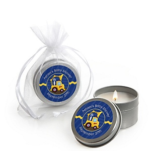 Construction Truck - Candle Tin Personalized Baby Shower Favors