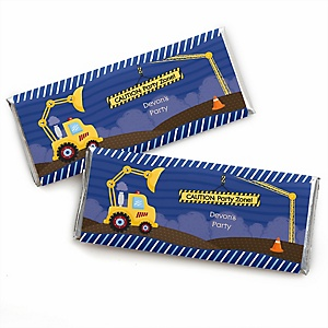 Construction Truck - Personalized Candy Bar Wrapper Baby Shower or Birthday Party Favors - Set of 24