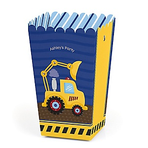Construction Truck - Personalized Party Popcorn Favor Treat Boxes - Set of 12