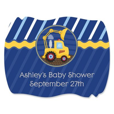 Construction Truck   Personalized Baby Shower Squiggle Stickers   16 Ct