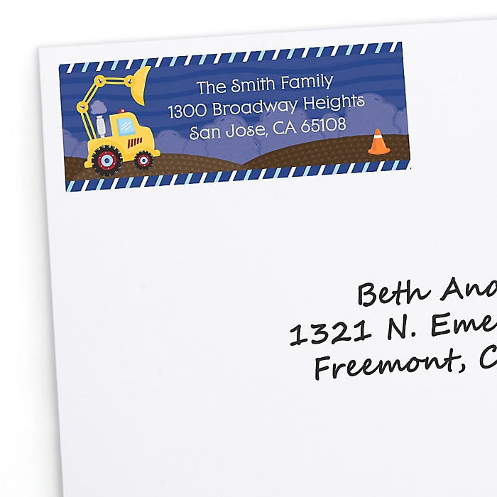 Construction Truck - Personalized Birthday Party Return Address Labels - 30 ct