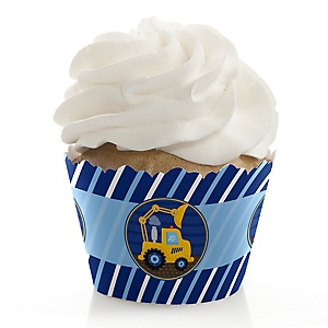 Construction Truck - Birthday Decorations - Party Cupcake Wrappers - Set of 12