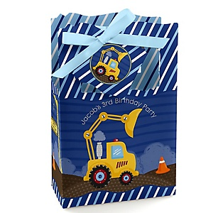 Construction Truck - Personalized Birthday Party Favor Boxes - Set of 12
